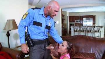 Abigail Mac sucks officer's big cock with so much passion
