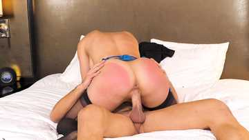 Fake-titted babe Cherie Deville gets her ass slapped during fucking with muscular lover