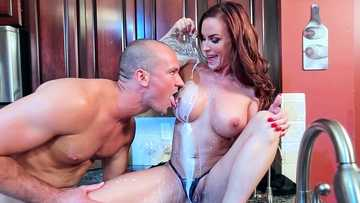Huge breasted mom Diamond Foxxx gets seduced by her son's best friend in the kitchen