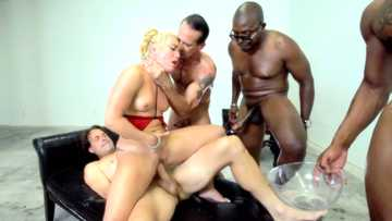 Interracial orgy gets AJ Applegate fucked to squirt in reverse cowgirl pose
