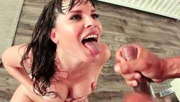 Good-looking whore Dana Dearmond rides the black snake anally and catches cum with her face
