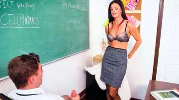 Voluptuous professor in strict clothes India Summer undresses and sucks schlong