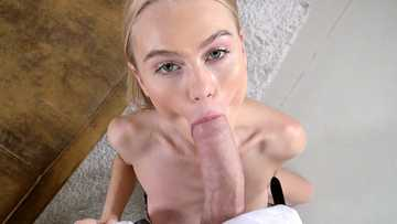 Blonde schoolgirl Nancy Ace forgets about homework when gets a dick in her hands