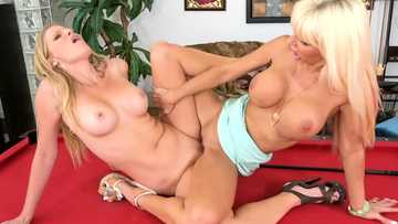 Brianna Ray gets some lesbian lessons from Kasey Storm right on the pool table