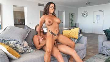 Slender MILF with perfect boobs Aubrey Black cums hard from a young pecker