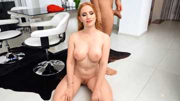 Lustful redhead Kiara Lord gets her mouth and pussy fucked hard till facial