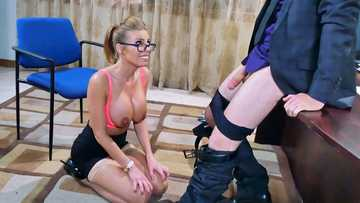 Classy blonde Britney Amber shows of her oiled tits and delivers cock-sucking magic