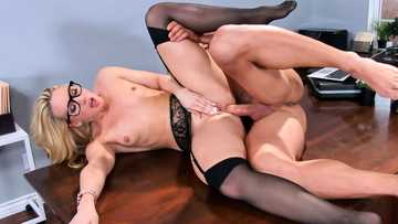 Naughty office slut in glasses AJ Applegate gets both holes drilled in the boss room